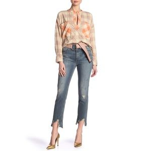 IRO Vix high Rise Distressed Straight Ankle Jeans